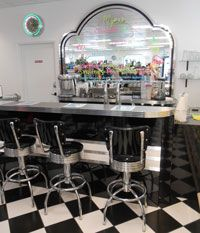 Authentic 1950 39 s old fashioned soda fountain inside kaup for Old fashioned pharmacy soda fountain