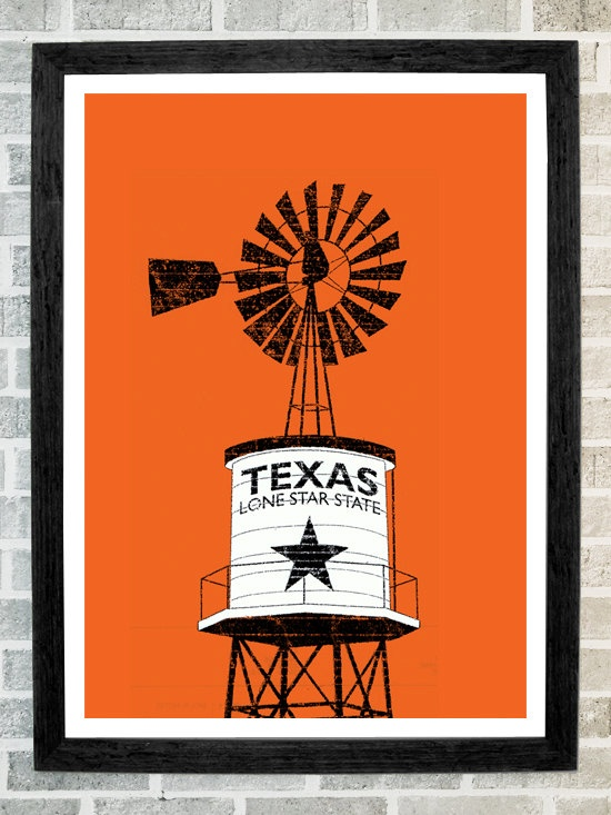 Texas state water tower poster  11 X 16 by stola12 on Etsy, $20.00