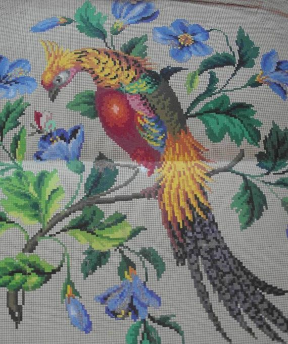 Berlin Woolwork Golden Pheasant Cross Stich by MyTreasureIsland
