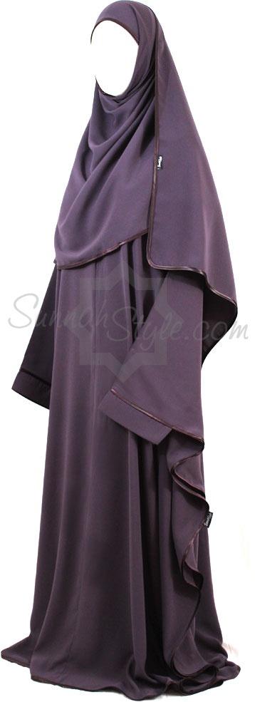 Satin Trimmed Full Butterfly Abaya (Lilac) by Sunnah Style #SunnahStyle #farasha #abayastyle #butterflyabaya #satintrim