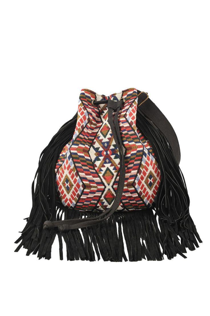 Détails - Sac en coton style indien avec franges. autre Sebastopol couleur noir Derhy
