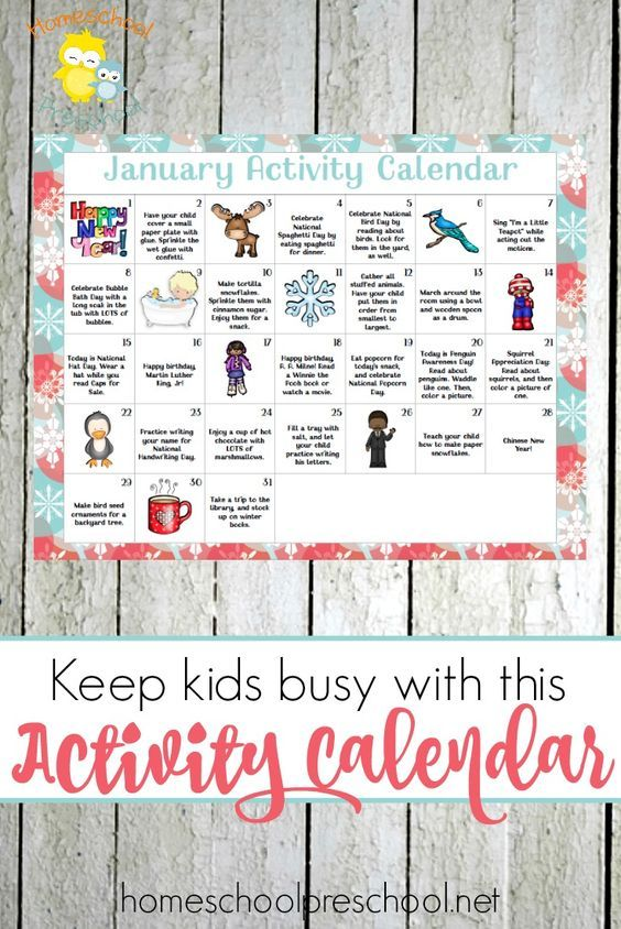 Kindergarten Calendar Activities : Free printable january preschool activity calendar