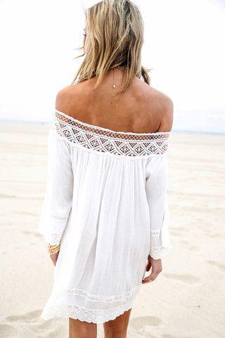 Jean Crochet Trim Linen Sun Dress