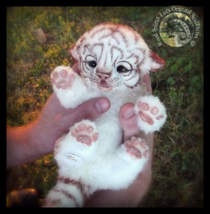 SOLD HAND MADE Poseable White Baby Tiger! by Wood-Splitter-Lee.deviantart.com on @DeviantArt