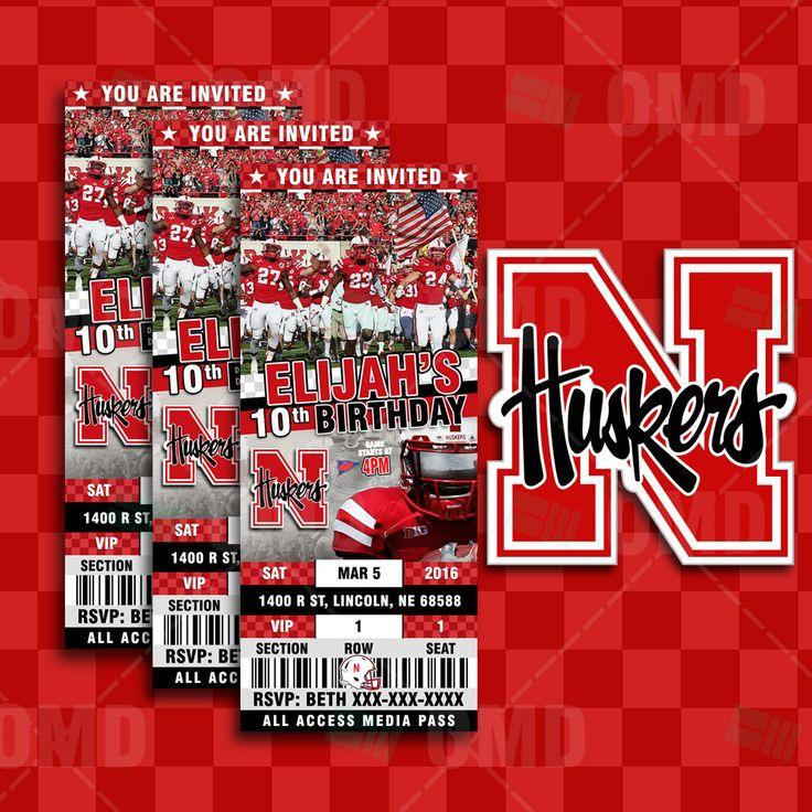 Nebraska Cornhuskers Sports Party Invitation, Sports Tickets Invites,  Huskers Football Birthday Theme Party Template By Sportsinvites On Etsy