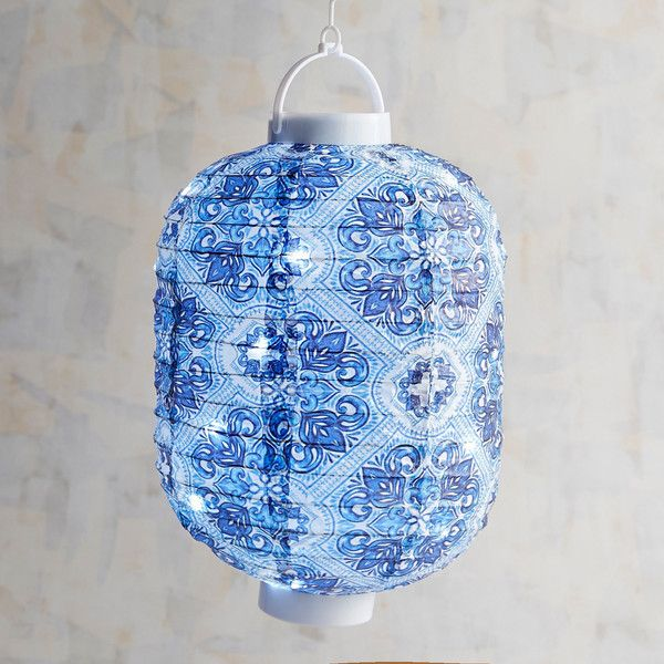 Pier 1 Imports Patterned Paper Lantern With LED Glimmer Strings ($13) ❤ liked on Polyvore featuring home, lighting, blue, firefly string lights, paper lanterns, battery powered lights, battery powered lanterns and blue lamp