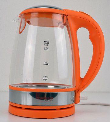 Scheff - BASTLER LED GLAS WASSERKOCHER EDELSTAHL 1,7l SCHNURLOS 2000W ORANGE LV