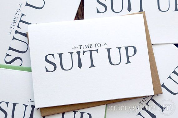 From Marrygrams.com / Looking for a simple way to ask the guys to be a part of your wedding? These fun, formal note cards made with high quality white shimmer cardstock are
