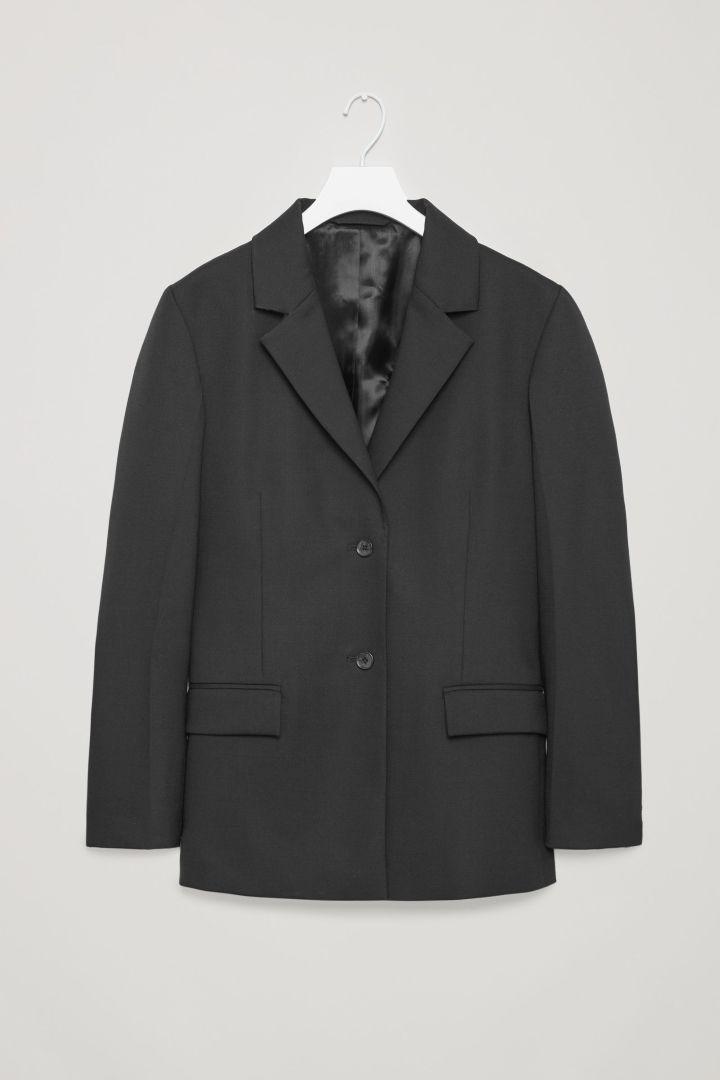 COS image 4 of Oversized wool blazer in Black