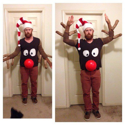 Full Body  Reindeer Ugly Sweater - 13 DIY Ugly Christmas Sweaters | Perfect Ugly & Funny Handmade Costumes by Pioneer Settler at http://pioneersettler.com/diy-ugly-christmas-sweaters/
