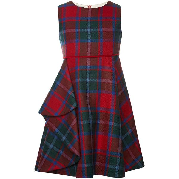 Oscar de la Renta Plaid Wool Sleeveless Dress With Gathered Skirt ($280) ❤ liked on Polyvore featuring dresses, empire waist dress, red a line dress, ruching dress, red tartan dress and sleeveless a line dress
