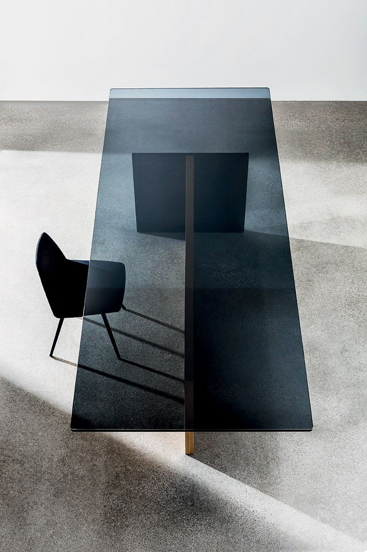 Black glass table top - Rectangular Wood And Glass Table Regolo Sovetitalia