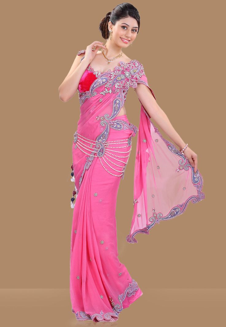 Embroidered Pre-stitched Pure Georgette Saree in Pink - Saree