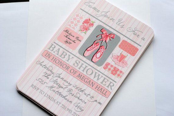 Ballet Baby Shower Invitations. #invites #ballerina #balletslippers