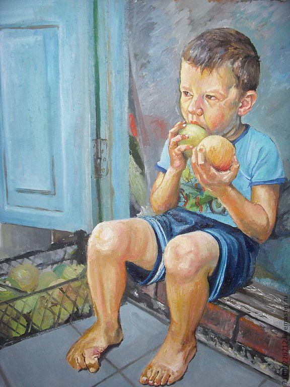 Купить мальчик с яблоками - бирюзовый, мальчик, яблоки, перекус, урожай, лето, масло, холст, голубой