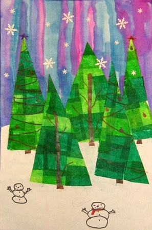Fourth graders created tissue collaged trees and pasted them to a cool winter background. Using colored sharpies, they added details to create more interest and uniqueness to their work.