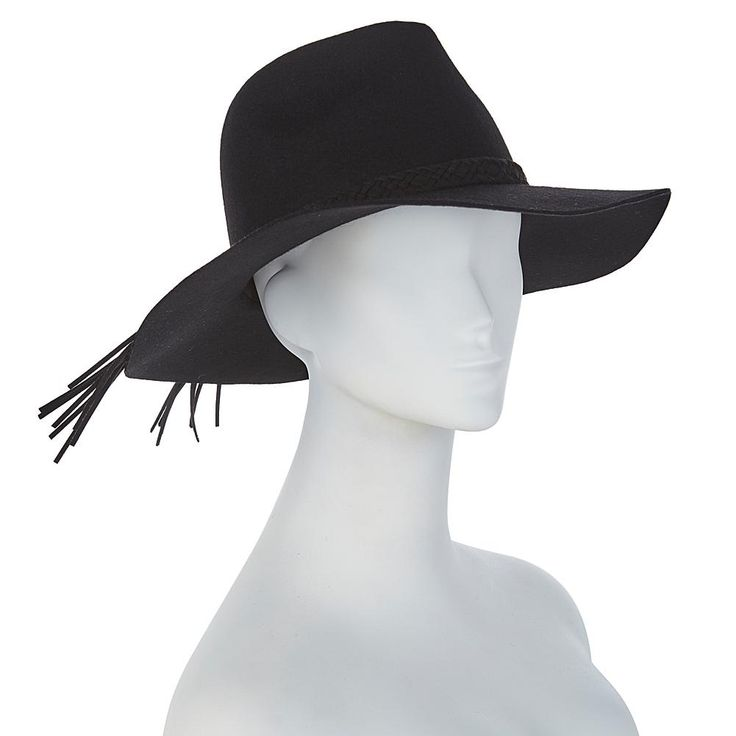 Serena Williams Wide-Brim Fedora with Braided Trim - Black