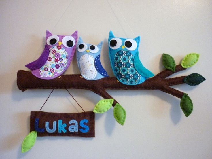 Personalized Wall or Door Name Plaque - Owl Family - Mom, Dad and Baby Boy. $79.00, via Etsy.