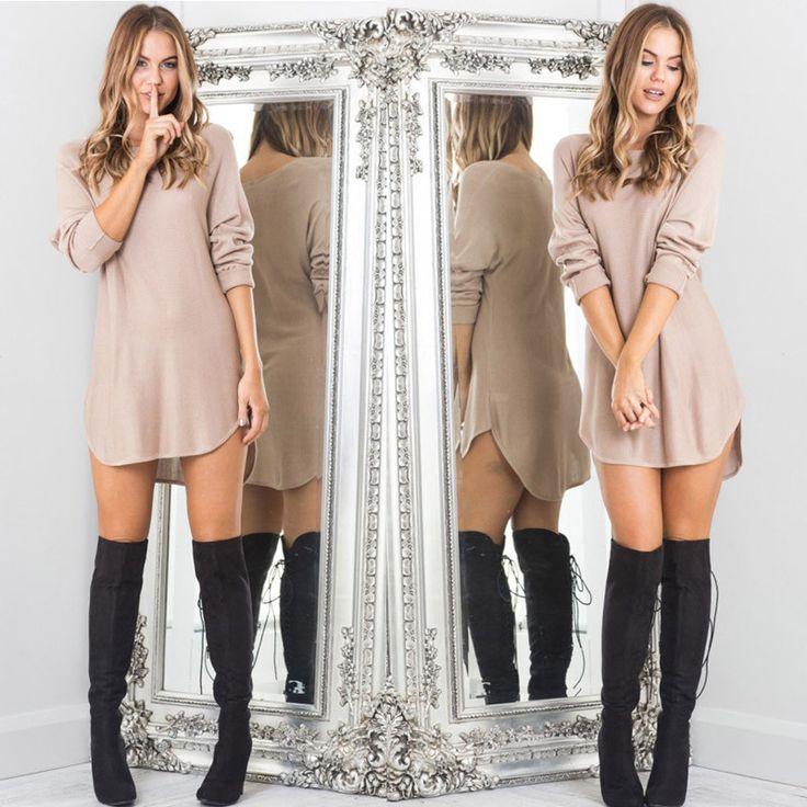 ✿ Casual Full Sleeve T-Shirts Long Top Loose Dress ✿
