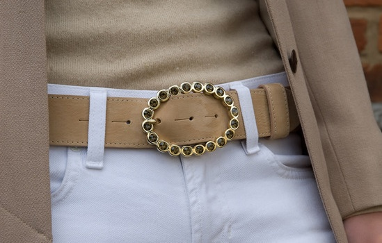 gold topaz oval diamante belt buckle