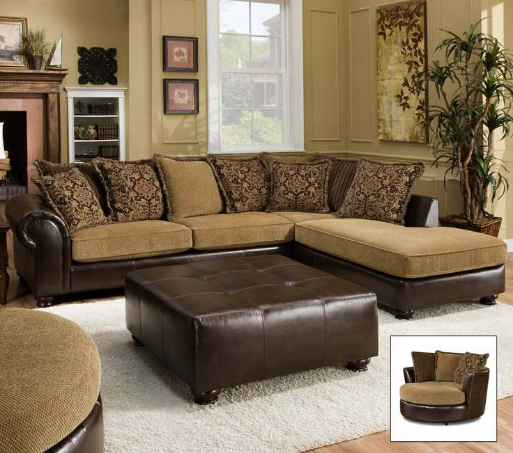 Leather Fabric Combo Sectional In 2019 Leather Living