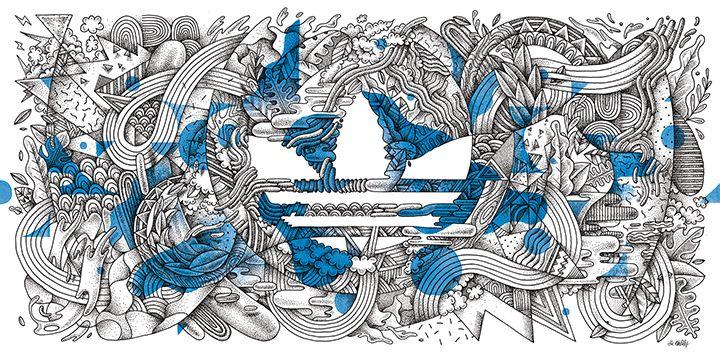 Création d'une illustration pour l'habillage du concept store Adidas originals d'Avignon. Le visuel sera reproduit sur une toile tendue de 5x2 m. Photos : Studio...