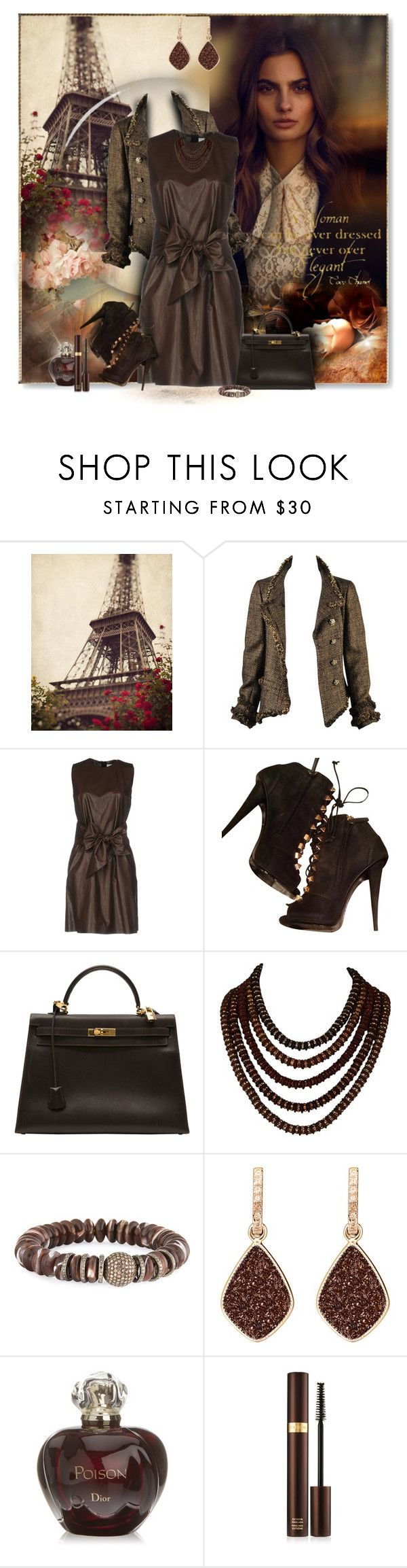 """Brown eyes"" by perla57 ❤ liked on Polyvore featuring Chanel, MSGM, Giuseppe Zanotti, Hermès, Sheryl Lowe, H.Azeem, Christian Dior and Tom Ford"