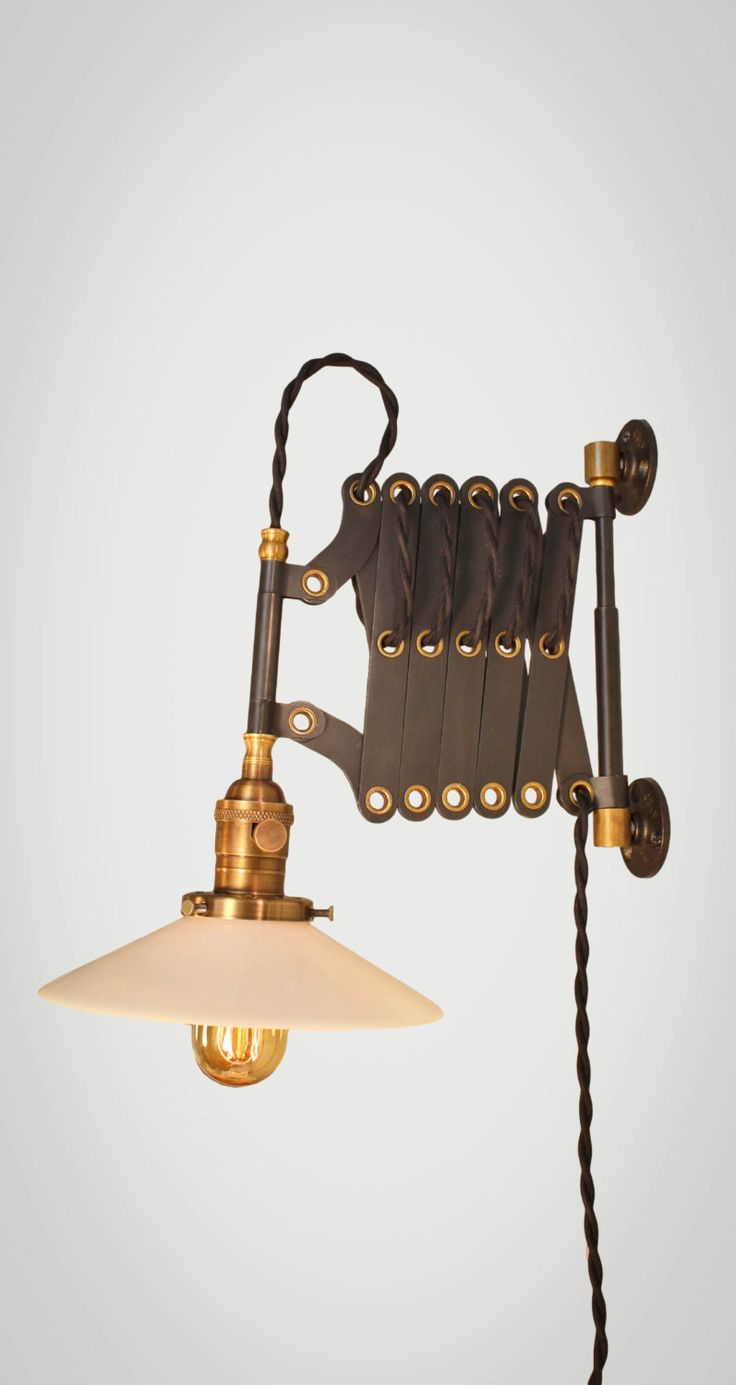 Vintage 40s cast iron metal deco industrial gooseneck desk lamp light - Vintage Industrial Scissor Lamp Scissor Sconce Expandable Accordion Lamp Steampunk Light Medical Machine Age Pulley Antique Cord