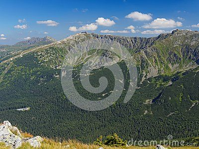 View on mountains peaks Dumbier, Derese and mountain railway station under Chopok in Low Tatra in Slovakia