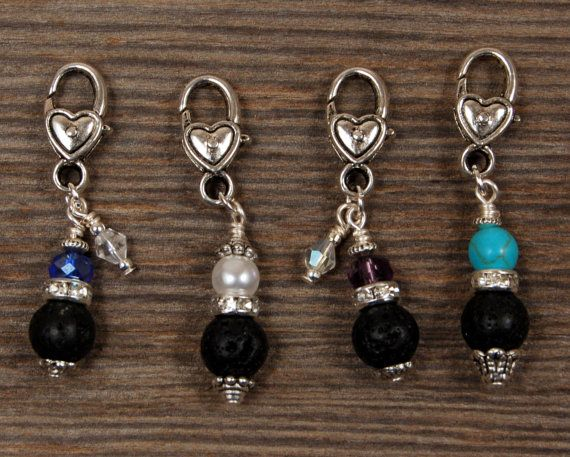 Rhinestone Charms with Lava Stones