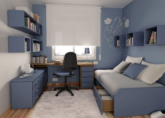 If I Have A Teen Son- Blue, Box Shelves, Strangely Angled Bed, Desk