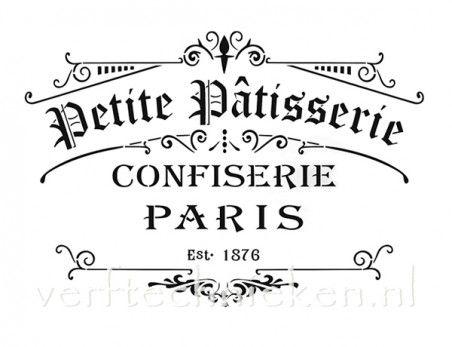 sjabloon Petite Patisserie Confiserie Paris