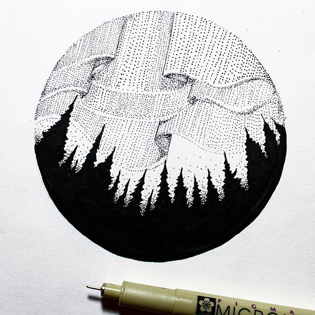 Aurora Borealis design from last night. I hope everyone has a great day!  • • • • • • • #illustration#design#art#blackwork#dotwork#poitilism#forest#northernlights#auororaborealis#getoutthere#alaska#drawing#handdrawn#vsco#instaart#canada#blackworknow#iceland#norway#travel#adventure#explore#camping#outdoors#sketchbook#beautiful#graphicdesign#tattoo#coffee#wild