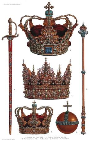 The Crown Jewels of Denmark:  kept at Rosenborg Castle ~ 1. Crown of Christian IV 1595. (centre image)  2. Crown of Christian V 1665-70. (top image)  3. The queen's crown 1731. (bottom image)  4. Sceptre.  5. Sword of state.  6. Globus cruciger.
