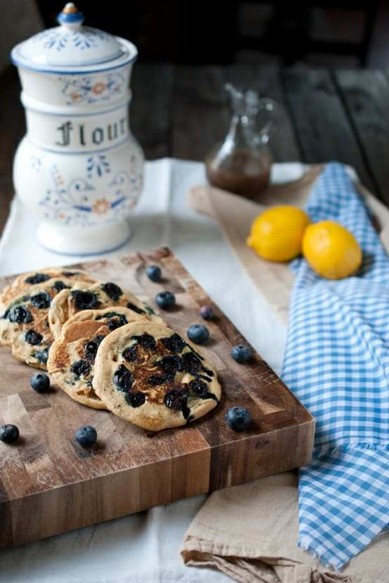 Easy Lemon Blueberry Whole Wheat Pancakes