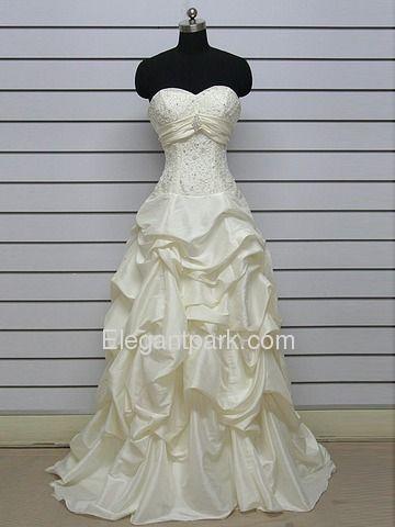 A-Line Pick Up Sweetheart Court Train Taffeta Lace Wedding Dress (ME8113). Bodice detail.