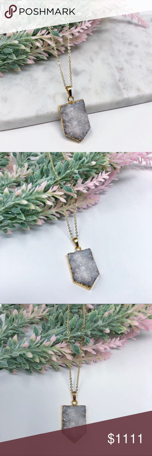"White Druzy Necklace white druzy necklace featuring natural titanium druzy agate stone on an 18k gold plated chain • chain length 18""   handmade in El Paso, TX Simple Sanctuary Jewelry Necklaces"