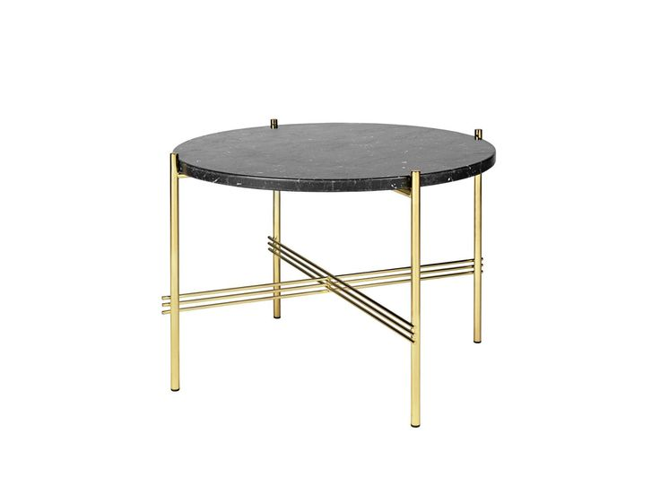 Gubi TS Couchtisch – Marmor Nero Marquina – Gestell Messing – Ø 55 cm