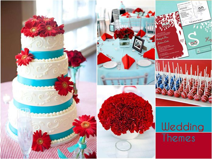 Lend a playful vibe to your wedding decor with a combination of aqua and cherry! #WeddingThemes