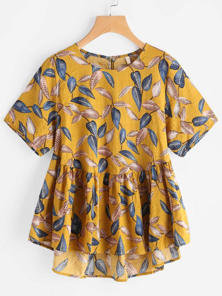 Shop Leaf Print Keyhole Back Dip Hem Smock Blouse online. SheIn offers Leaf Print Keyhole Back Dip Hem Smock Blouse & more to fit your fashionable needs.