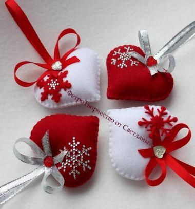 Easy DIY Felt Christmas Tree Ornaments With Blings Karacsonyfadiszek Egyszeruen Filcbol