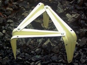 DIY Cooking Trivet. More stable than one I had built many years ago, where I took a trio of triangle hinges, and joined them at the center point, but if you took three triangle hinges and attached them like this, you would have a kit that folded up into a compact bundle for packing.