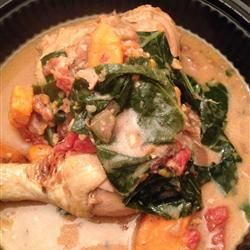 West African Chicken Peanut soup.  I substitute russet potatoes for sweet potatoes and spinach for collard greens