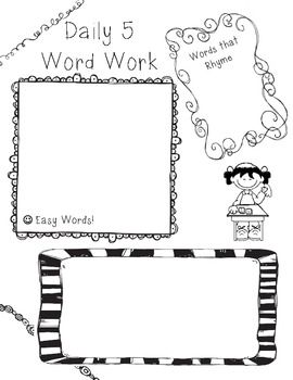 Daily 5 Word Work Recording Sheet (2)Ideas Teaching, Reading La Ideas, Education Design, Schools Ideas, Teaching Ideas, Kindergarten Daily, Education Daily, Daily 5
