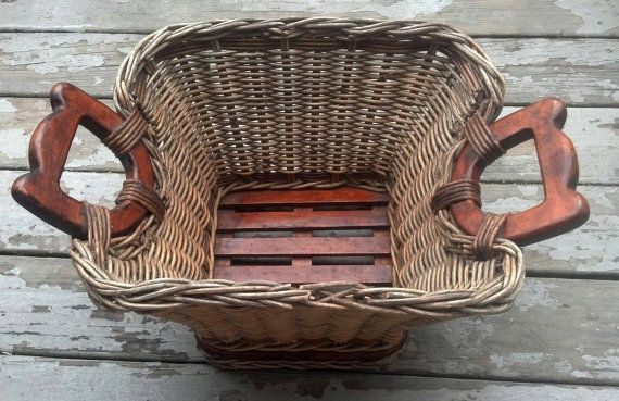 Antique Wicker Laundry Basket / Farm Basket with Wood Handles and Wood Slatted and Ventilated Bottom