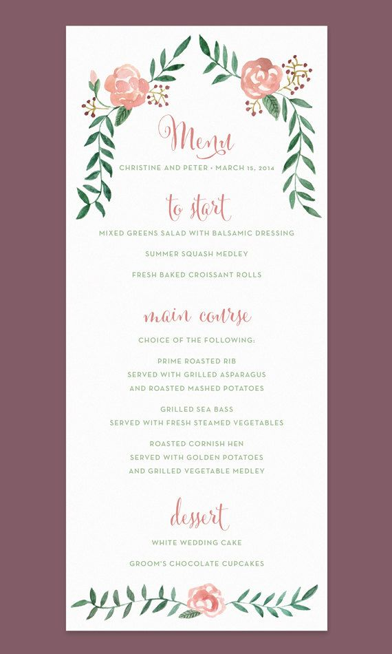 Rose Wedding Menu Card with Hand-painted Watercolor Flower Border on Etsy, $27.50