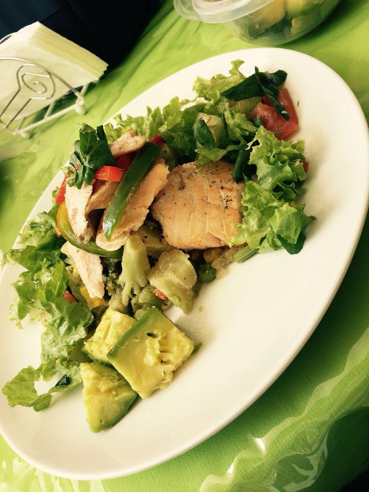 4 Onzas de Salmón  1 taza de vegetales hervidos al ajo 1 taza de vegetales frescos  1/2 tajada de aguacate