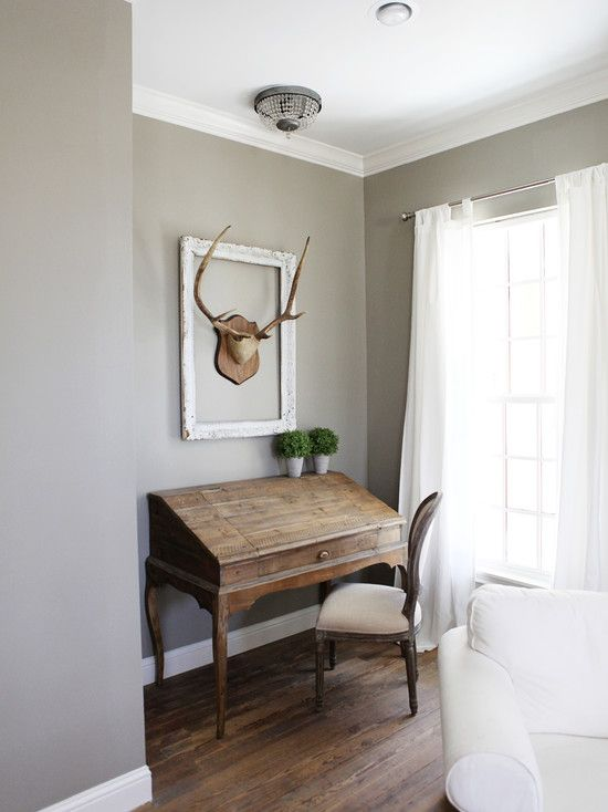 Bedroom Design, Farmhouse Bedroom For Bedroom Remodel With Light Gray Wall Color Also Antique Wooden Desk With Classic Study Chair With Beige Fabric Color Also Comely Horn Ornament Hanging On The Wall Also White Curtains: Bedroom Remodeling Ideas for New Atmosphere