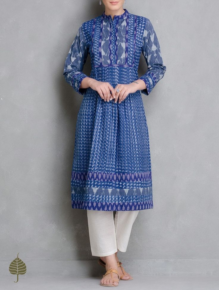 Buy Blue Ivory Handloom Ikat Cotton Pleated Kurta by Jaypore Women Kurtas Enigma and Pants Online at Jaypore.com