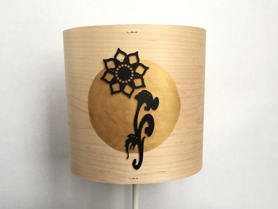 Oval wood lampshade  Floral gold lamp shade  by SweetPeaAndSam